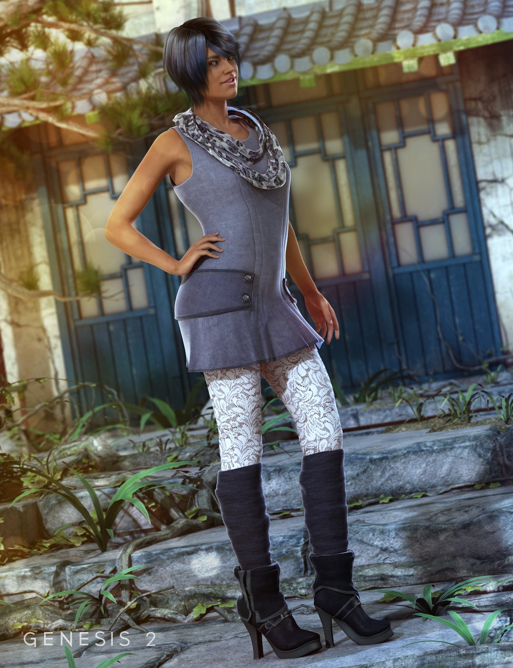 Early Spring Outfit for Genesis 2 Female(s) by: Barbara BrundonSarsa, 3D Models by Daz 3D