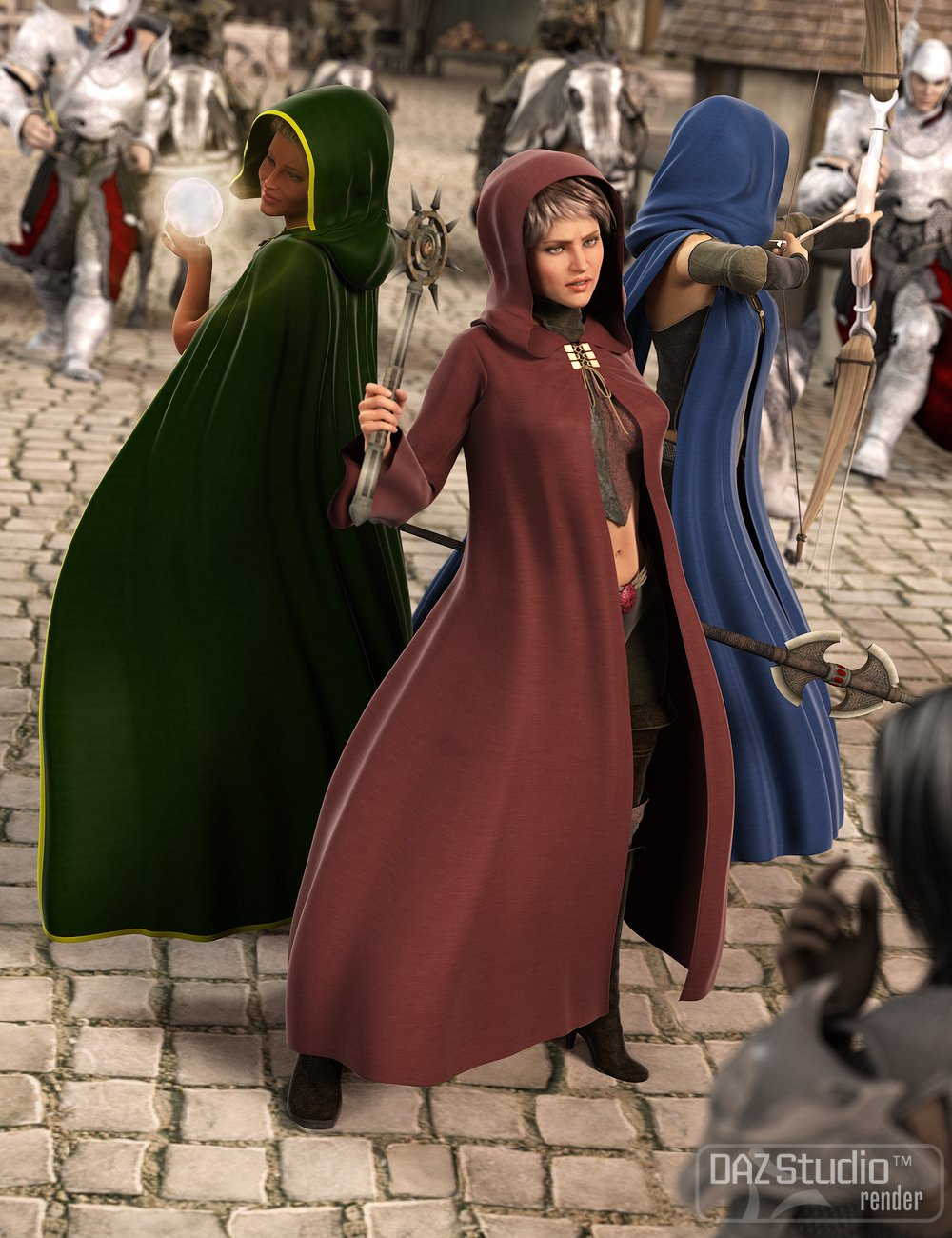 Medieval Cloaks for Genesis 2 Female(s) by: Ravenhair, 3D Models by Daz 3D