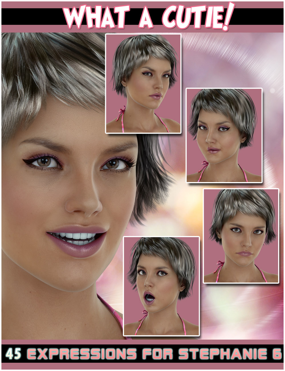 What a Cutie! Expressions for Stephanie 6 by: 3DCelebrity, 3D Models by Daz 3D