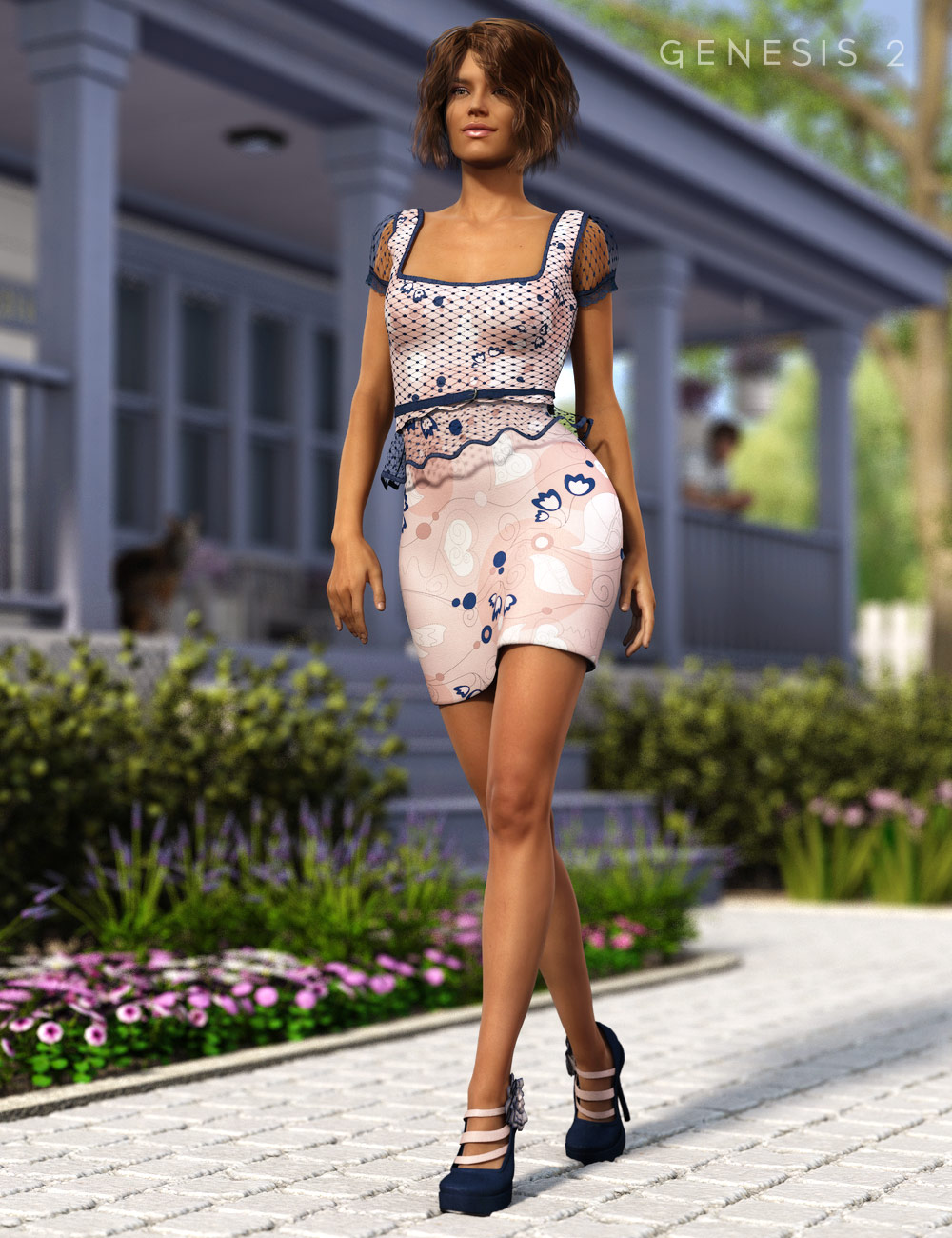 Peplum Dress and Blossom Shoes for Genesis 2 Female(s) by: Barbara BrundonSarsa, 3D Models by Daz 3D