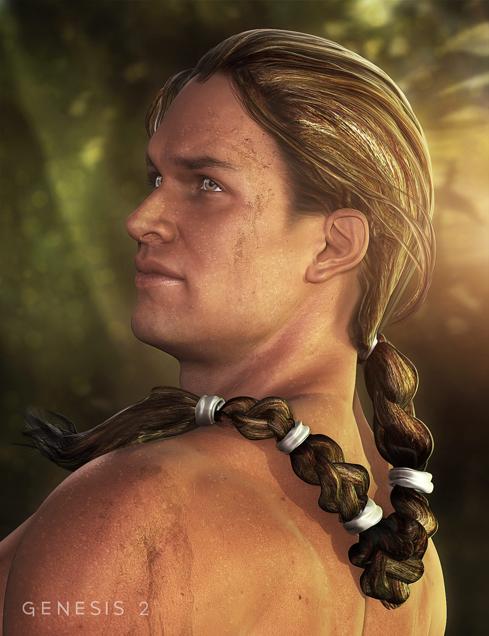 Ancient Combat Hair for Genesis 2 Male(s) by: Neftis3D, 3D Models by Daz 3D