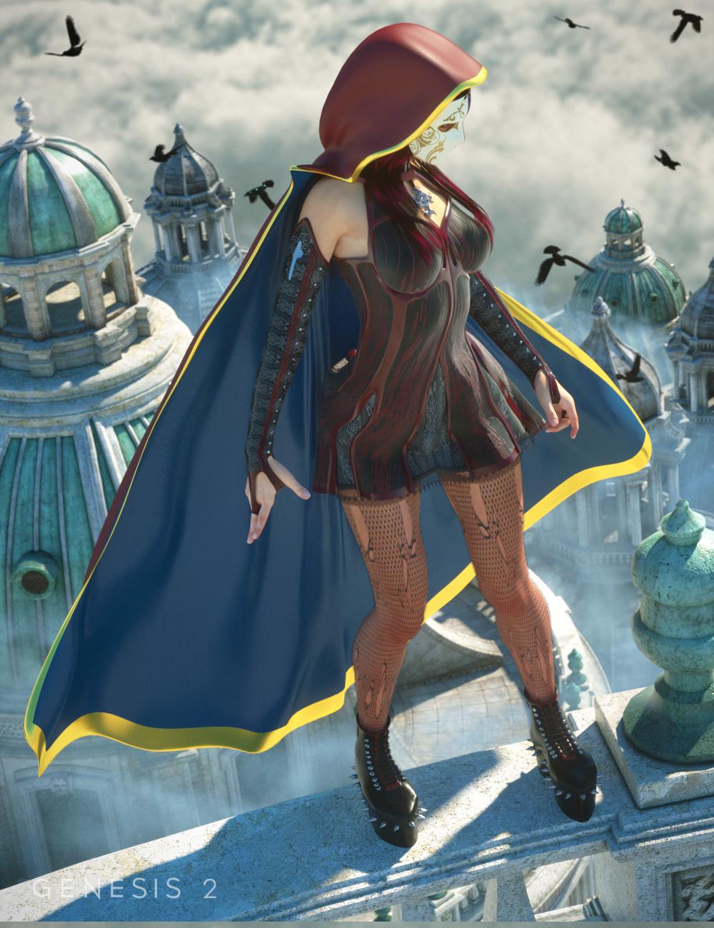 Hooded Cloak for Genesis 2 Female(s) by: Ravenhair, 3D Models by Daz 3D