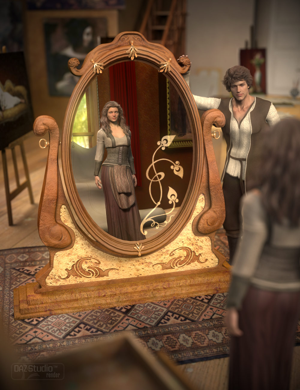 Deco Mirror by: Nathy, 3D Models by Daz 3D