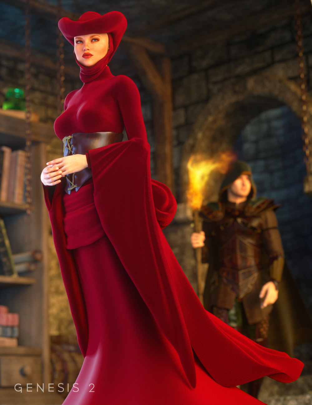 Morphing Fantasy Dress Exp 2 for Genesis 2 Female(s) by: Ravenhair, 3D Models by Daz 3D