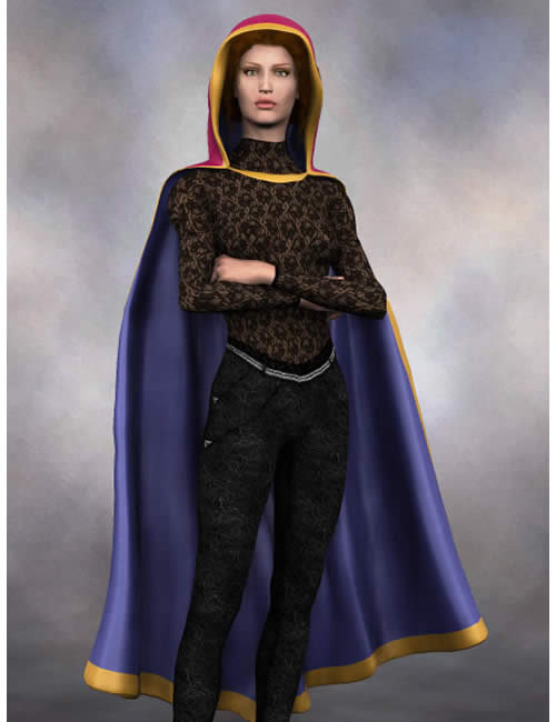 Stephanie 3.0 Petite Hooded Cloak by: , 3D Models by Daz 3D