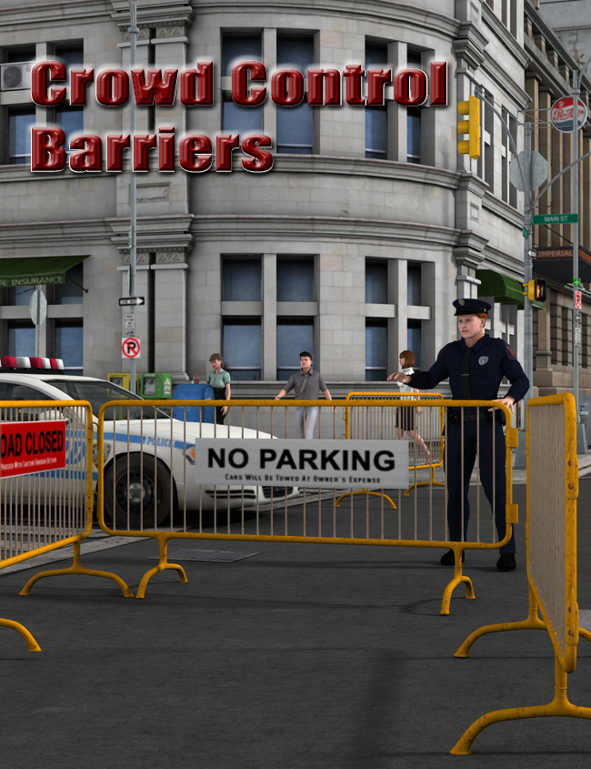 Crowd Control Barriers by: FirstBastion, 3D Models by Daz 3D
