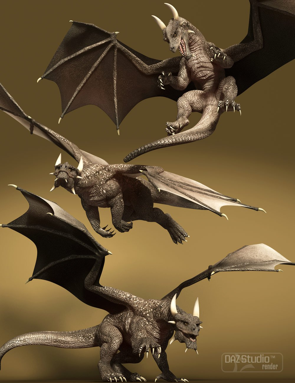 Cinematic Poses for DAZ Dragon 3 by: Muscleman, 3D Models by Daz 3D