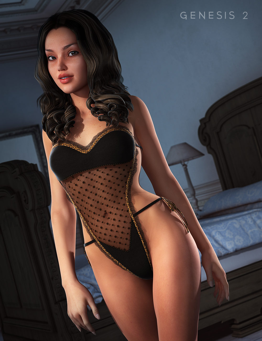 Lacy Teddy Lingerie for Genesis 2 Female(s) by: OziChickXena, 3D Models by Daz 3D