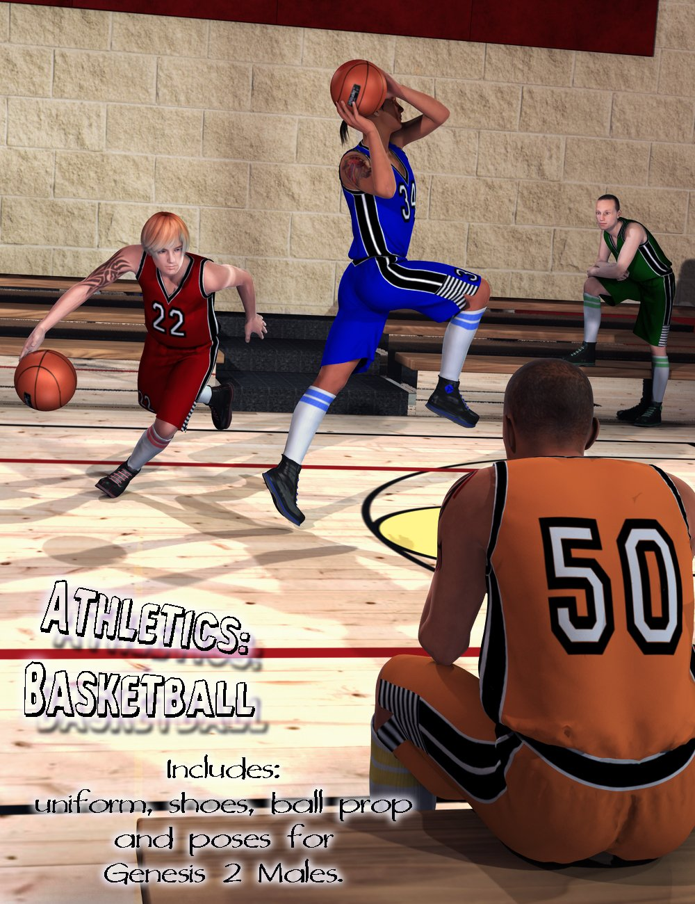 Athletics: Basketball for Genesis 2 Male(s) by: Aave NainenFeralFey, 3D Models by Daz 3D