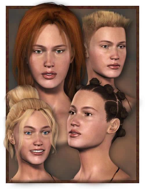 4 in1 Hair Bundle by: , 3D Models by Daz 3D
