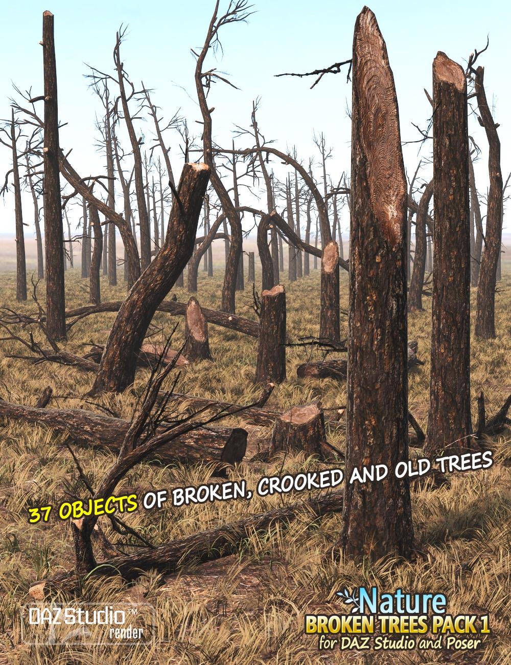 Nature - Broken Trees Pack 1 by: Andrey Pestryakov, 3D Models by Daz 3D