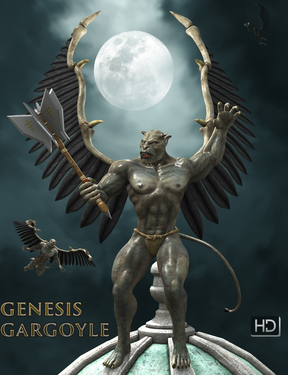 Genesis Gargoyle HD by: midnight_stories, 3D Models by Daz 3D