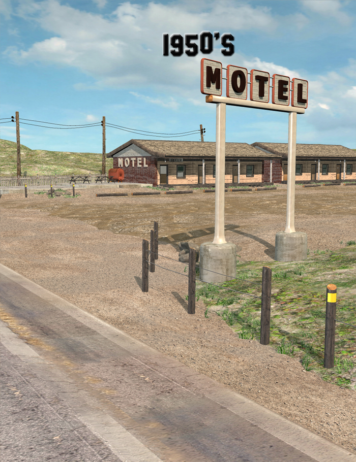 1950's Era Motel by: FirstBastion, 3D Models by Daz 3D