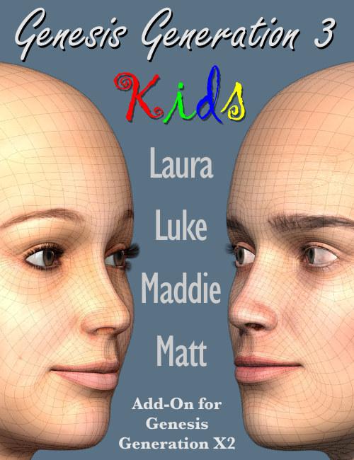 GenX2 AddOn Gen3 Kids by: Dimension3D, 3D Models by Daz 3D