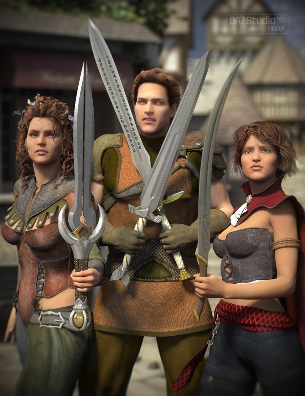 Short Swords by: Valandar, 3D Models by Daz 3D