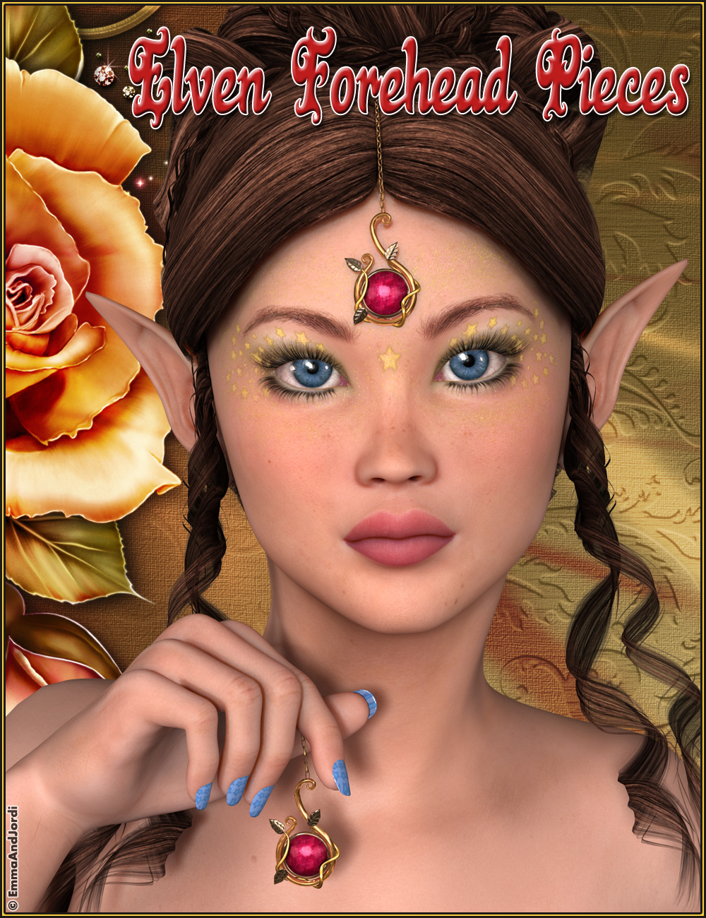 Elven Forehead Pieces For Any Figure by: EmmaAndJordi, 3D Models by Daz 3D