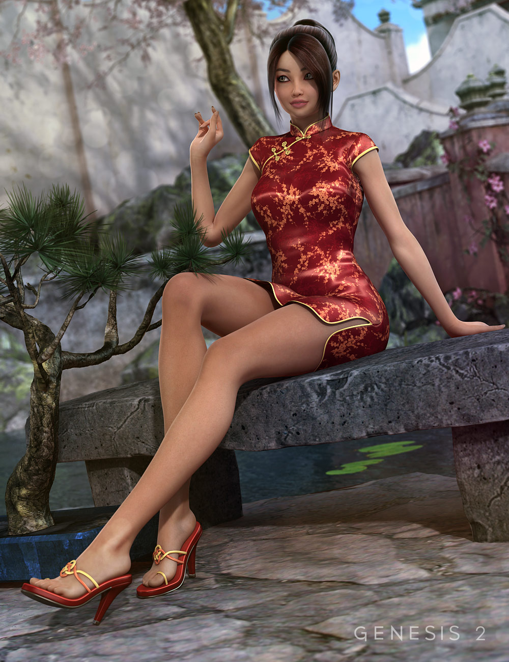 Xiao Mei's Finery HD for Aiko 6 and Genesis 2 Female(s) by: Fisty & Darc, 3D Models by Daz 3D