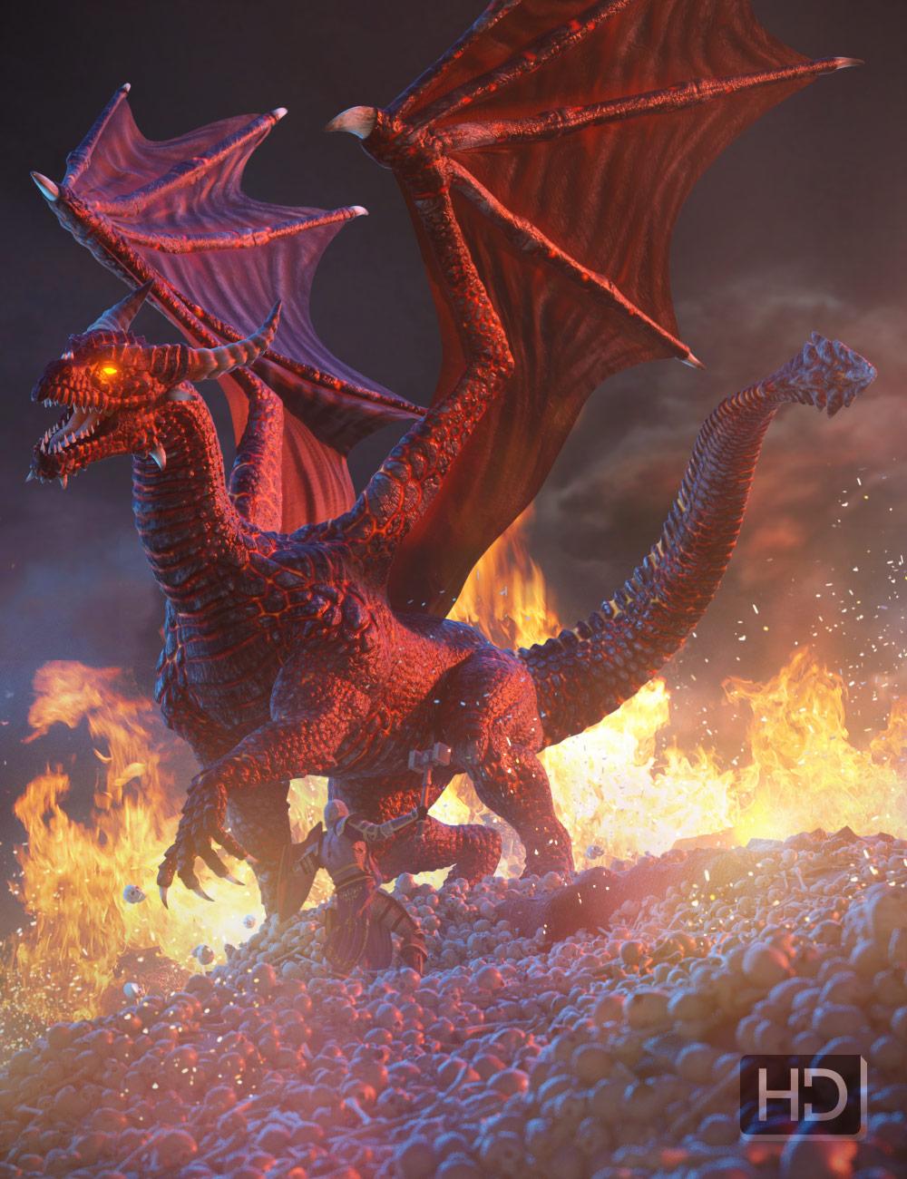 Hellborn Dragon HD for DAZ Dragon 3 by: , 3D Models by Daz 3D