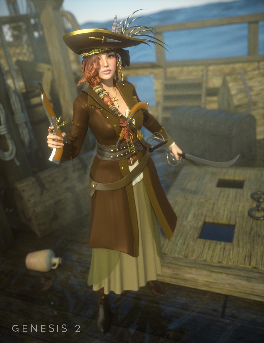 Piratess for Genesis 2 Female(s) by: Ravenhair, 3D Models by Daz 3D