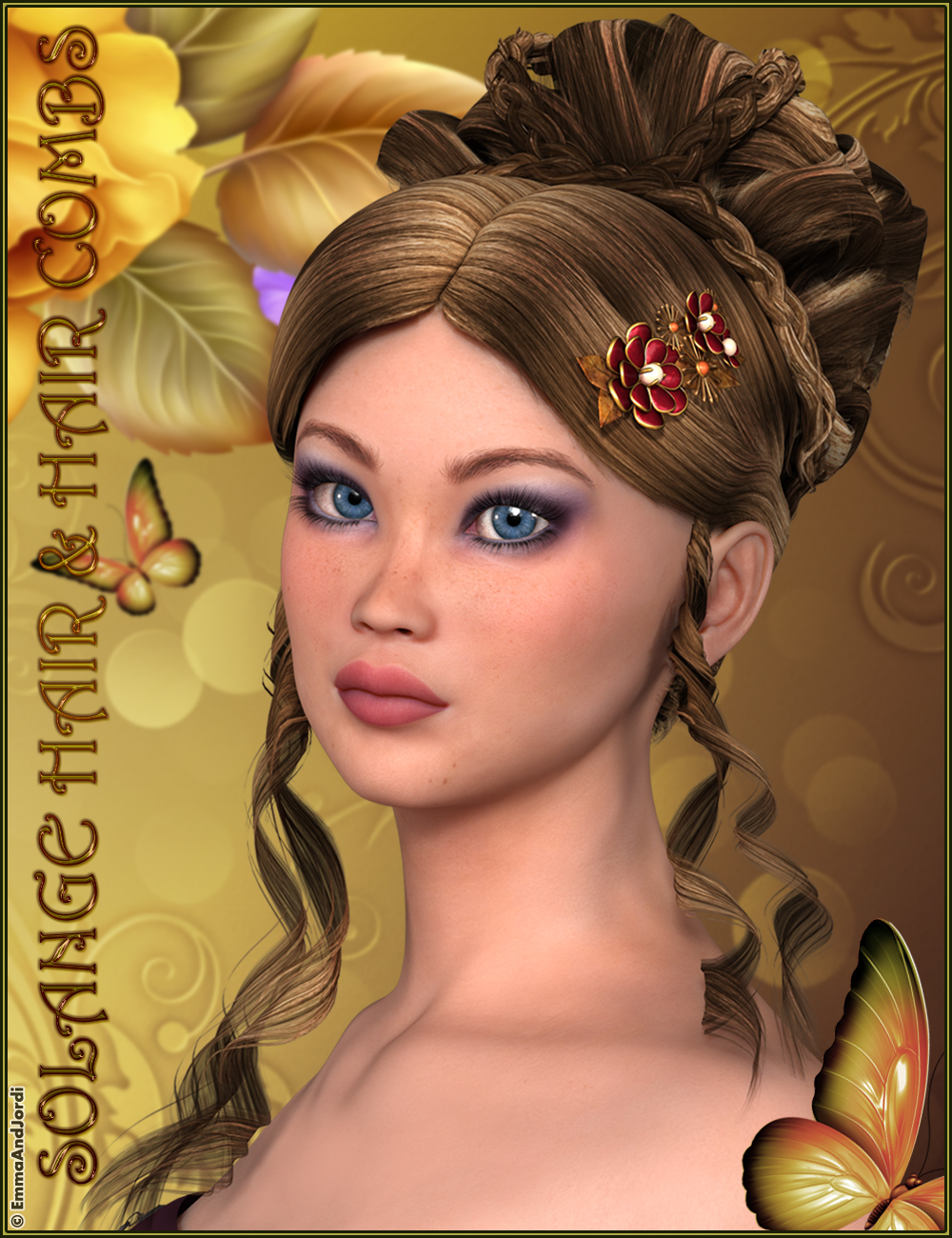 Solange Hair and Hair Combs by: EmmaAndJordi, 3D Models by Daz 3D