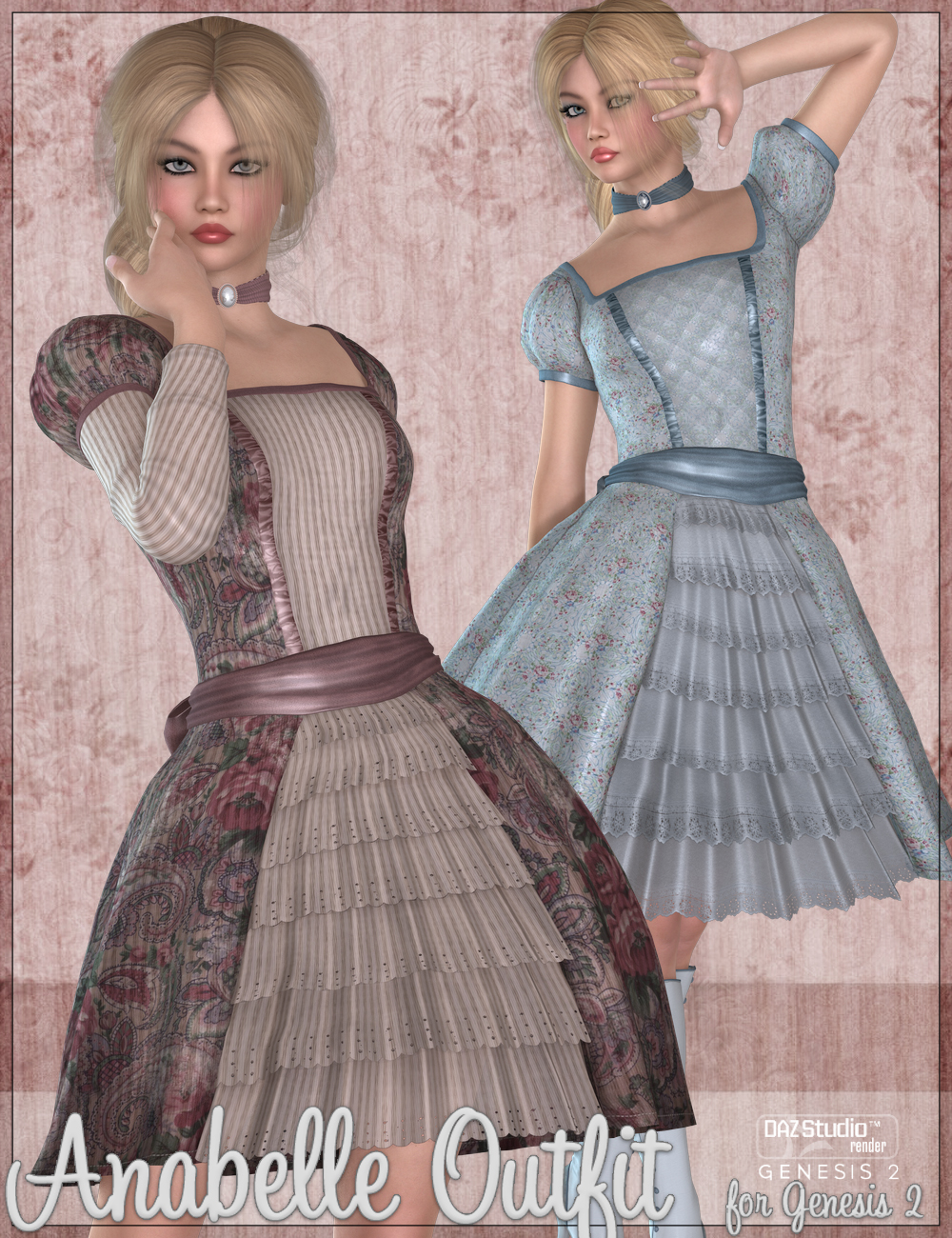 Anabelle Outfit for Genesis 2 Female(s) by: WildDesignsJessaii, 3D Models by Daz 3D
