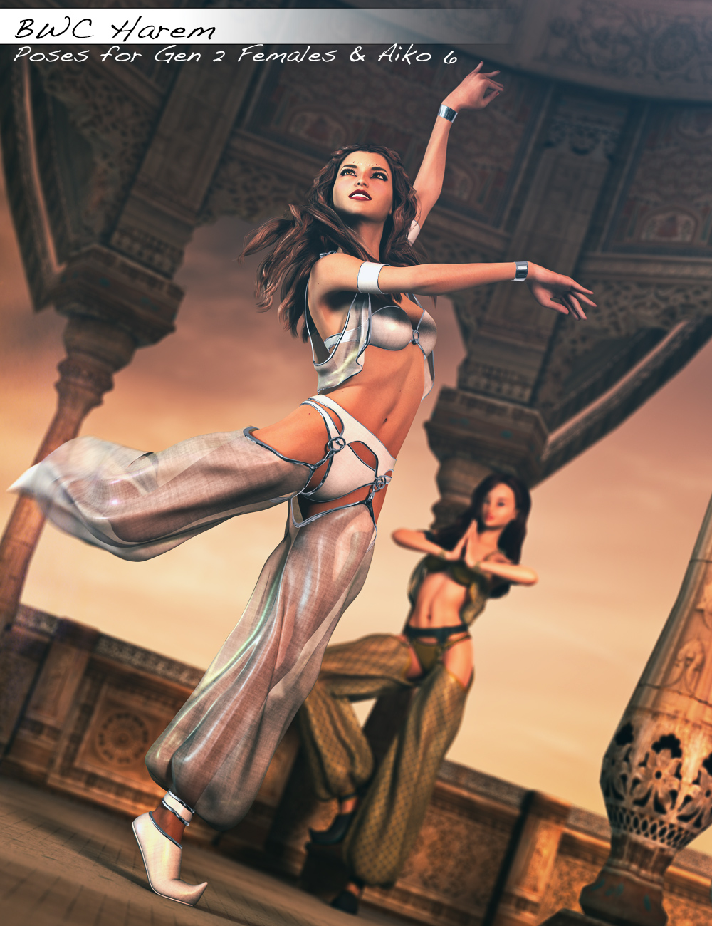 BWC Harem - Poses for Genesis 2 Female(s) and Aiko 6 by: Sedor, 3D Models by Daz 3D