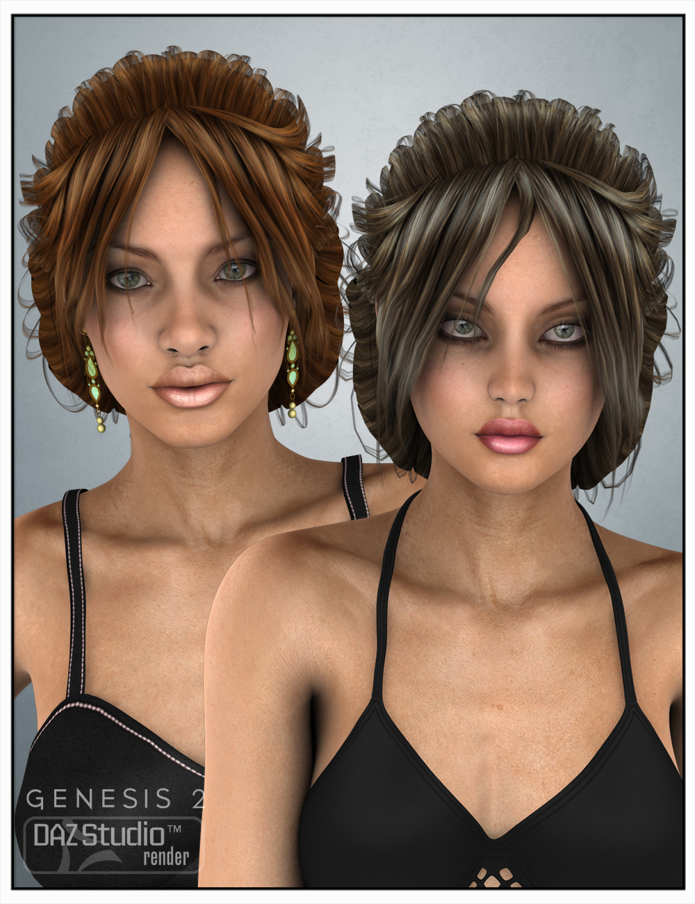 Niaby Hair for Genesis 2 Female(s) and Victoria 4 by: SWAM, 3D Models by Daz 3D