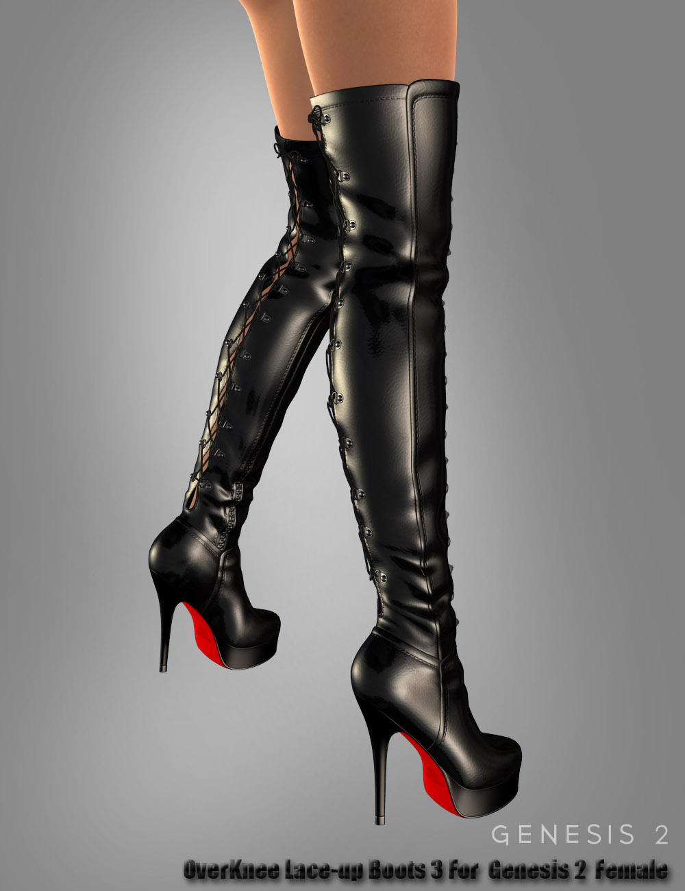 OverKnee Lace-up Boots 3 For Genesis 2 Female(s) by: dx30, 3D Models by Daz 3D