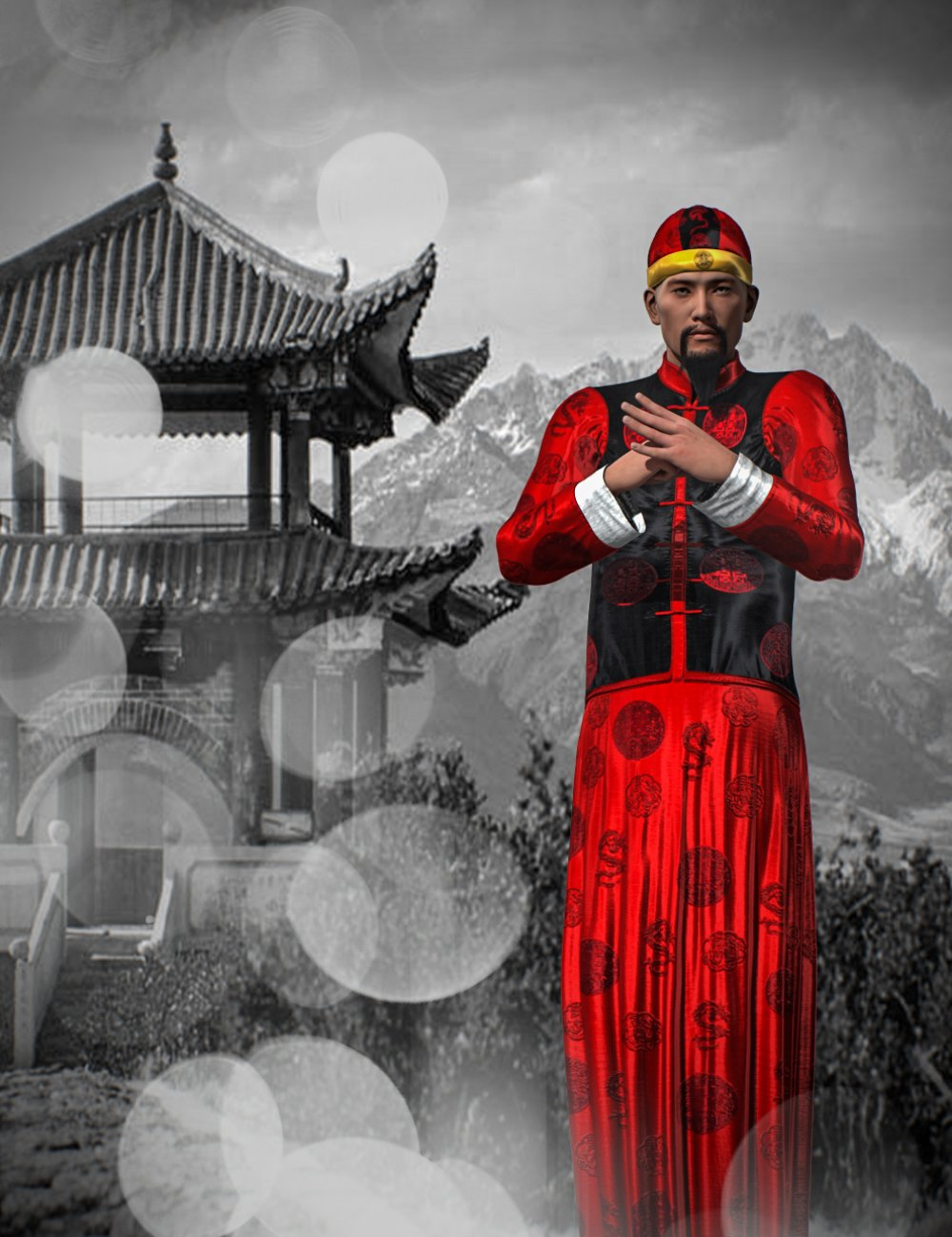 Mec4D Chinese Traditional Outfit Genesis 2 Male(s) by: Mec4D, 3D Models by Daz 3D