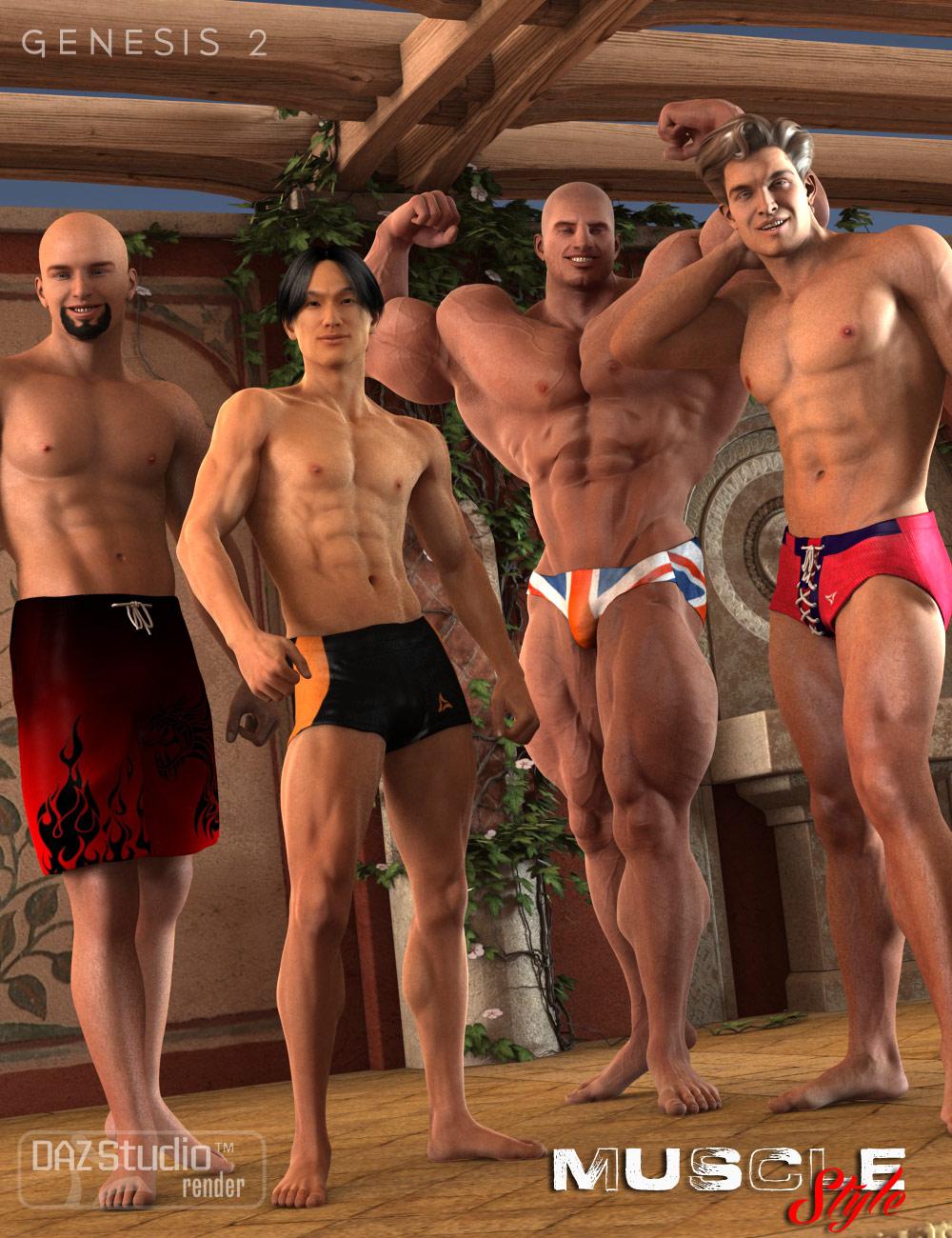 Muscle Style for SY Swimwear by: Muscleman, 3D Models by Daz 3D