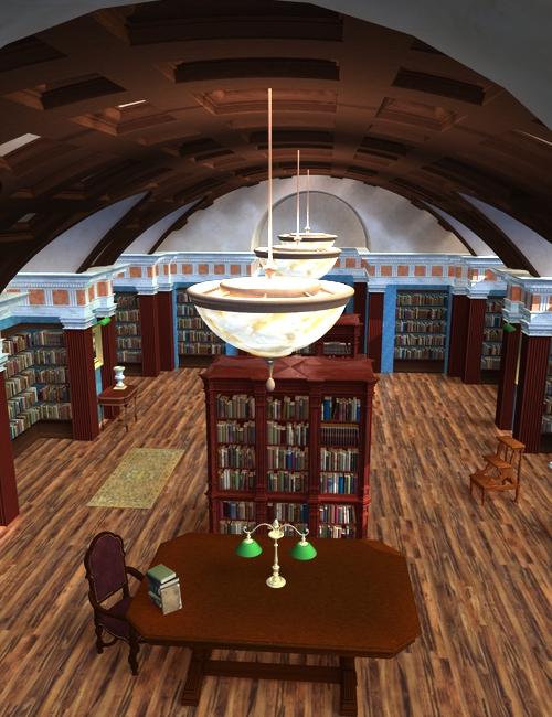 Vaulted Hall Library Bundle by: KRAIGbitwelder, 3D Models by Daz 3D