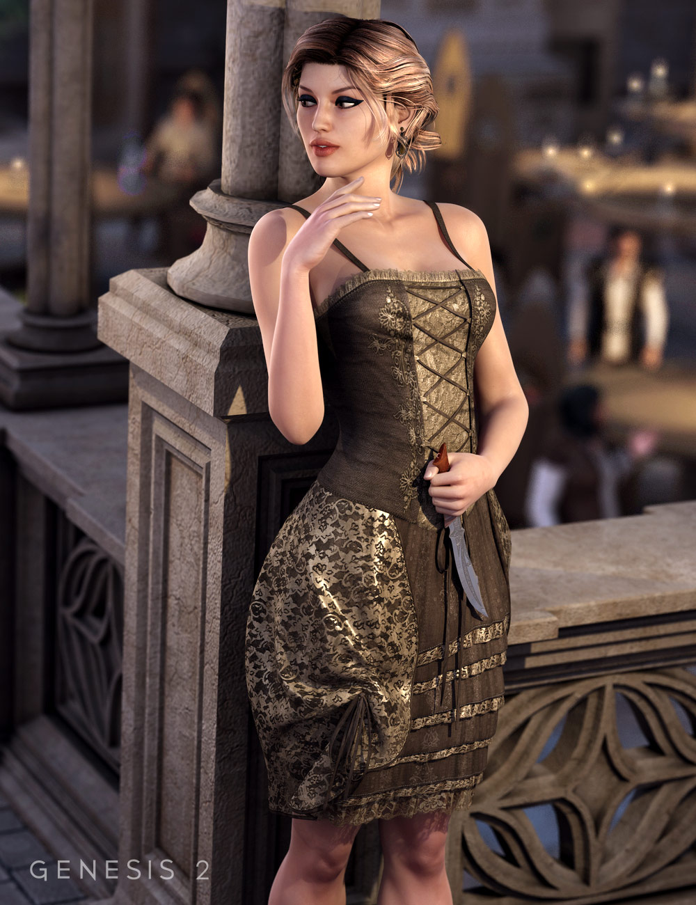 Francesca Dress for Genesis 2 Female(s) by: MadaSarsa, 3D Models by Daz 3D