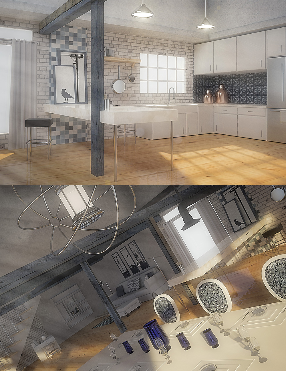 A Bright Loft Bundle by: , 3D Models by Daz 3D