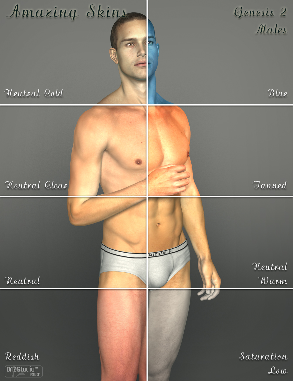 Amazing Skins For Genesis 2 Male(s) by: V3Digitimes, 3D Models by Daz 3D