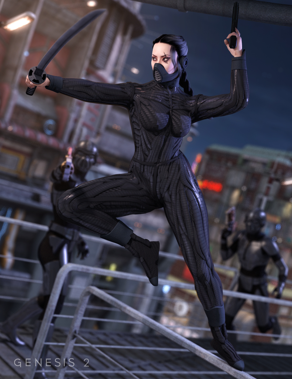 Dragontech Ninja by: Valandar, 3D Models by Daz 3D