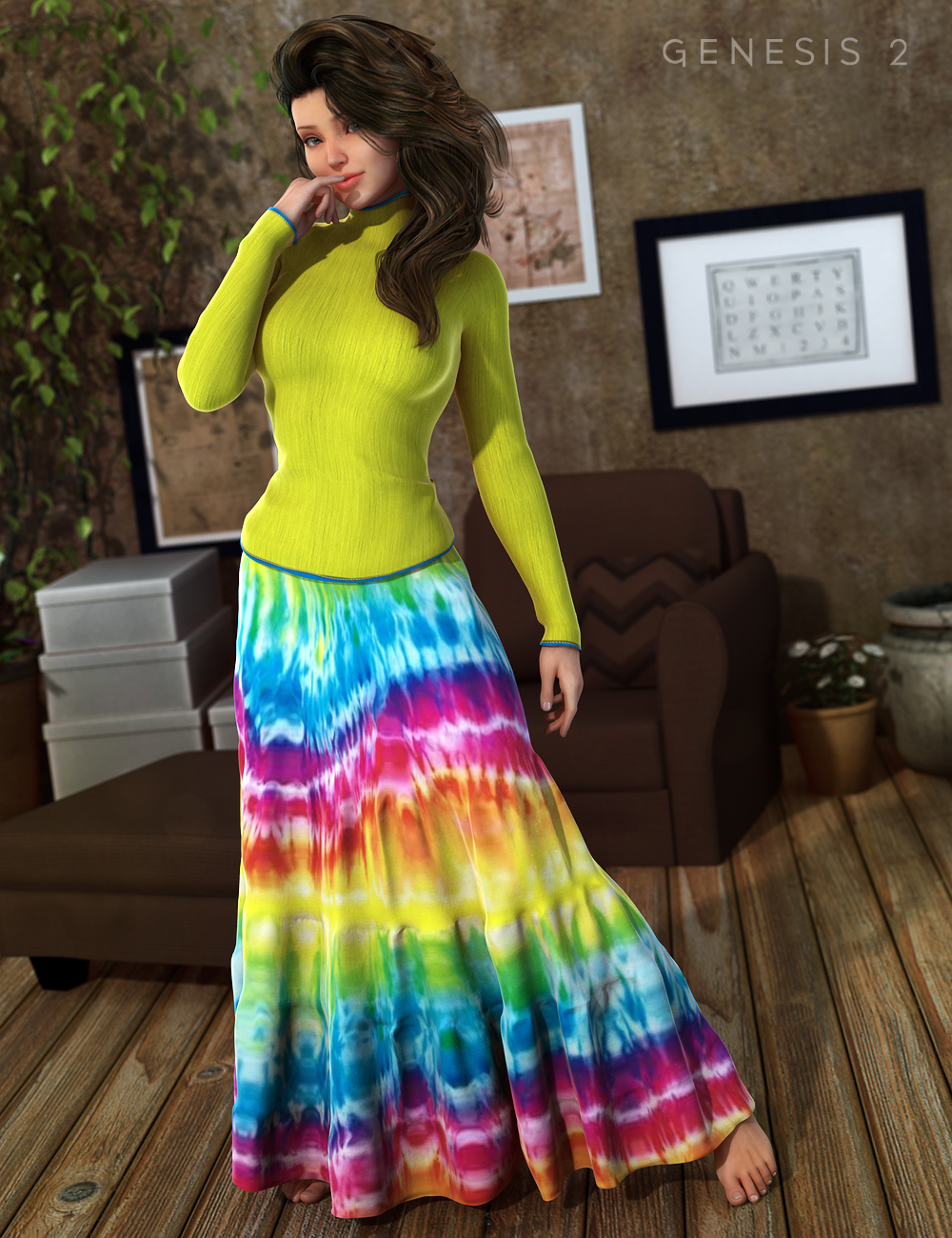 Hippie Chick Outfit for Genesis 2 Female(s) by: Barbara BrundonSarsa, 3D Models by Daz 3D