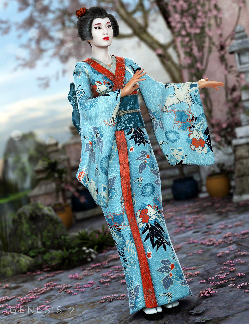 Peony Kimono for Genesis 2 Female(s) by: MadaSarsa, 3D Models by Daz 3D