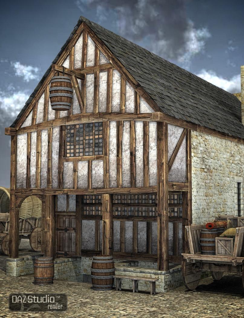 Medieval Merchants House by: Merlin Studios, 3D Models by Daz 3D