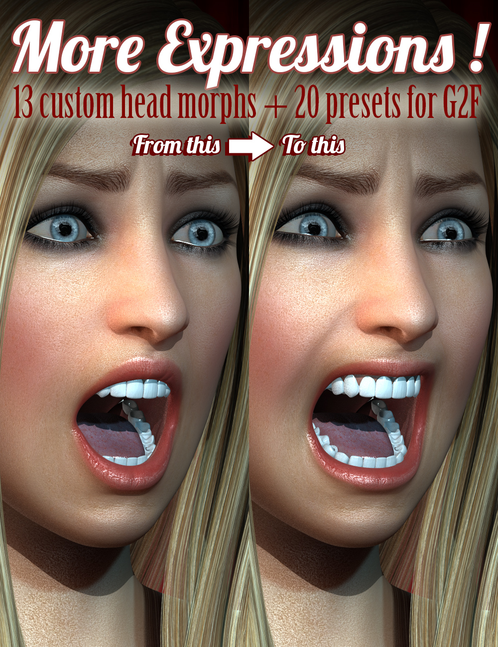 MORE Expressions for Genesis 2 Female(s) by: Cake One, 3D Models by Daz 3D