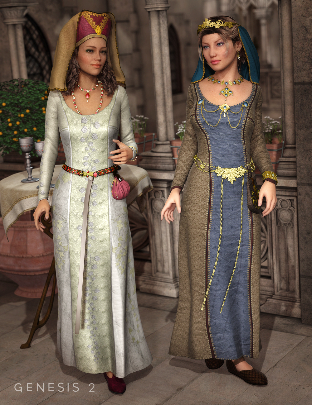 Medieval Fantasy Accessories for Genesis 2 Female(s) by: Ravenhair, 3D Models by Daz 3D