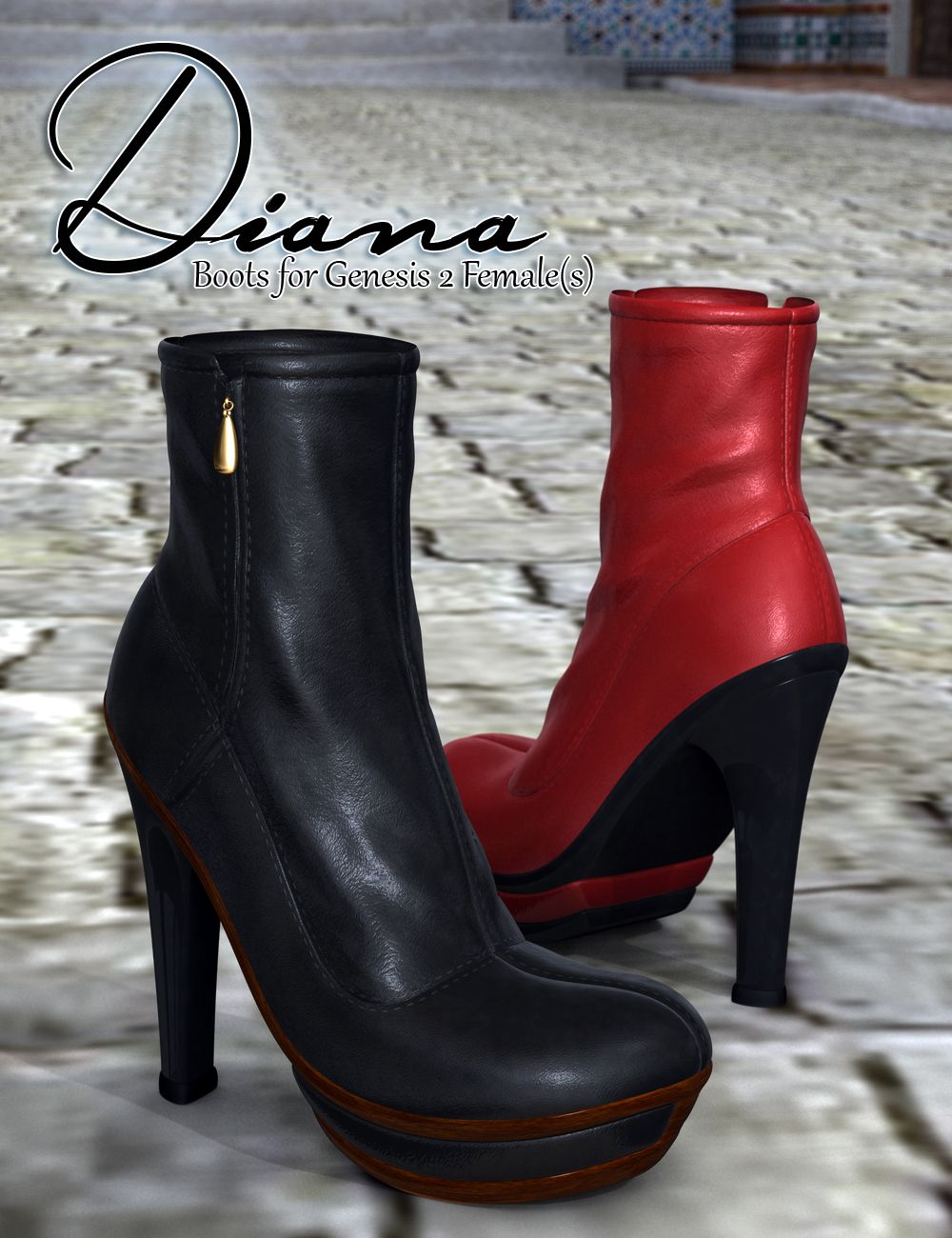 Diana Boots for Genesis 2 Female(s) by: SloshWerks, 3D Models by Daz 3D