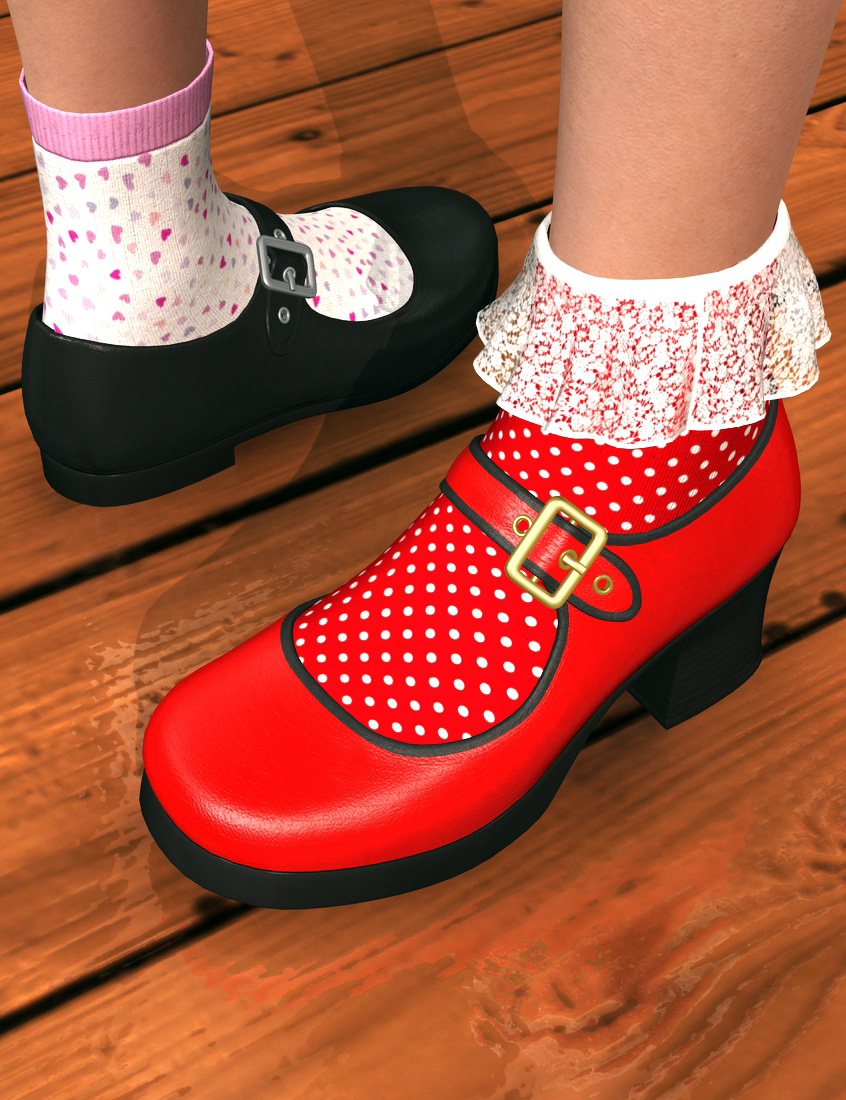 Mary Janes and Socks for Genesis 2 Female(s) by: Dogz, 3D Models by Daz 3D