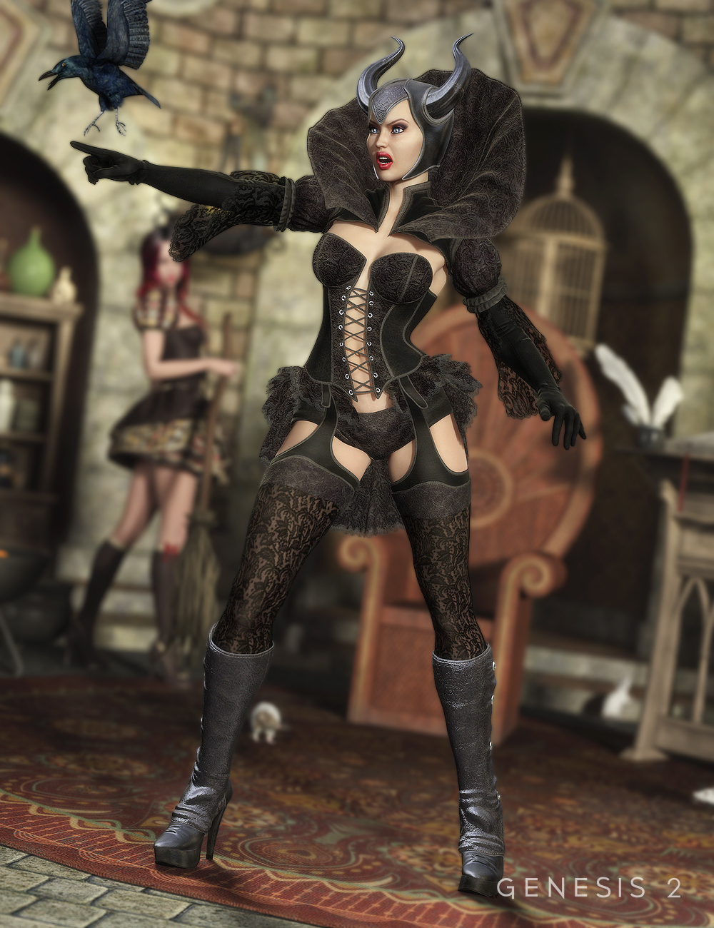 The Sinful Witch for Genesis 2 Female(s) by: ArienBarbara Brundon, 3D Models by Daz 3D
