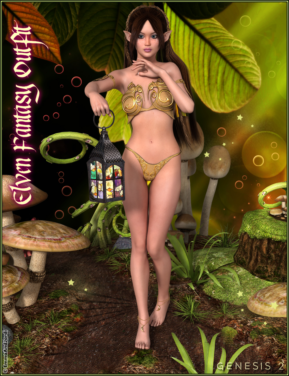 Elven Fantasy Outfit for Genesis 2 Female(s) by: EmmaAndJordi, 3D Models by Daz 3D