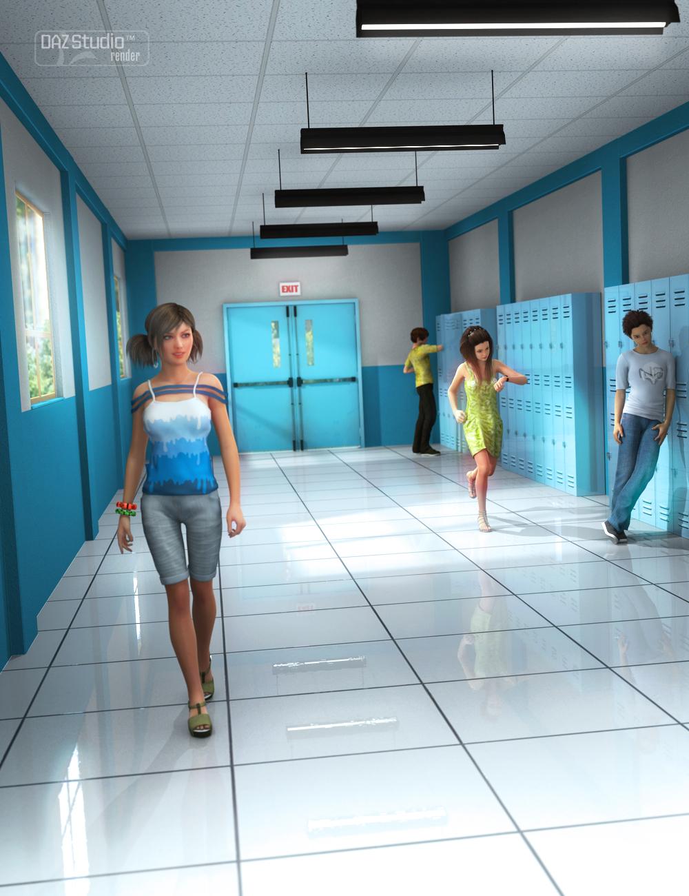 School Hallway by: , 3D Models by Daz 3D