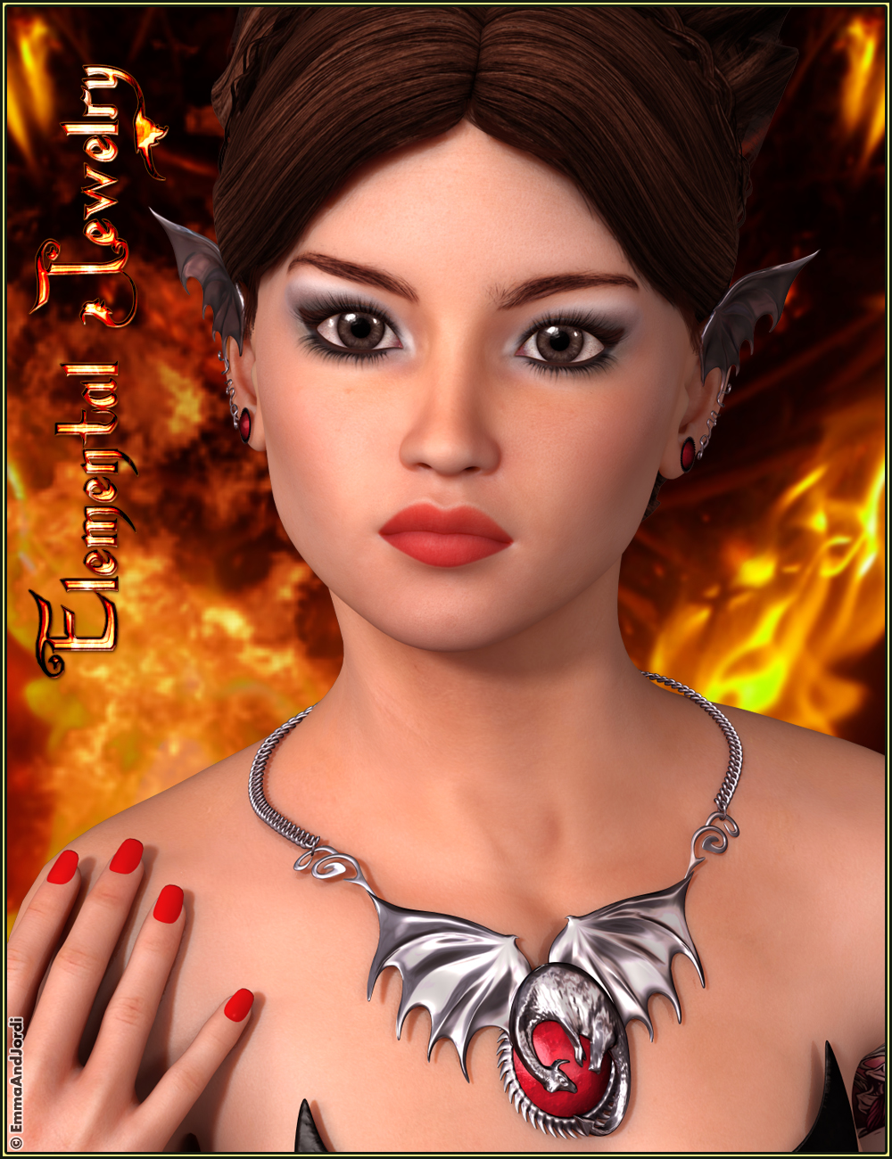 Elemental Jewelry: Fire, Earth, Wind, and Water by: EmmaAndJordi, 3D Models by Daz 3D