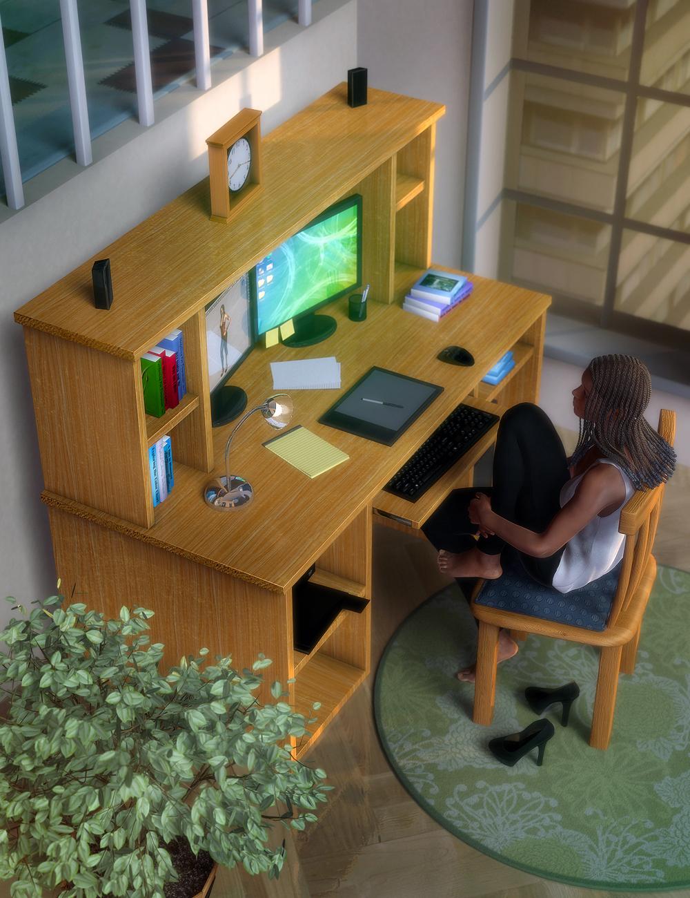 Work Desk Set by: ARTCollab, 3D Models by Daz 3D