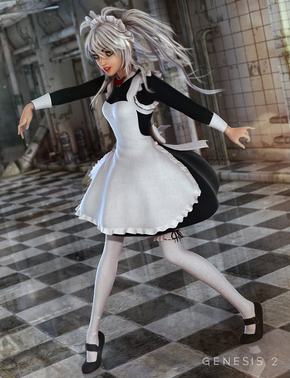 The Maid Outfit for Genesis 2 Female(s) by: NikisatezSarsa, 3D Models by Daz 3D