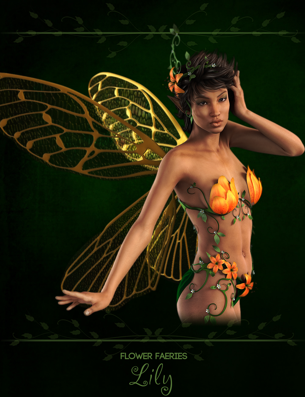 Flower Faeries for Genesis 2 Female(s) - Lily Fae by: Ryverthorn, 3D Models by Daz 3D