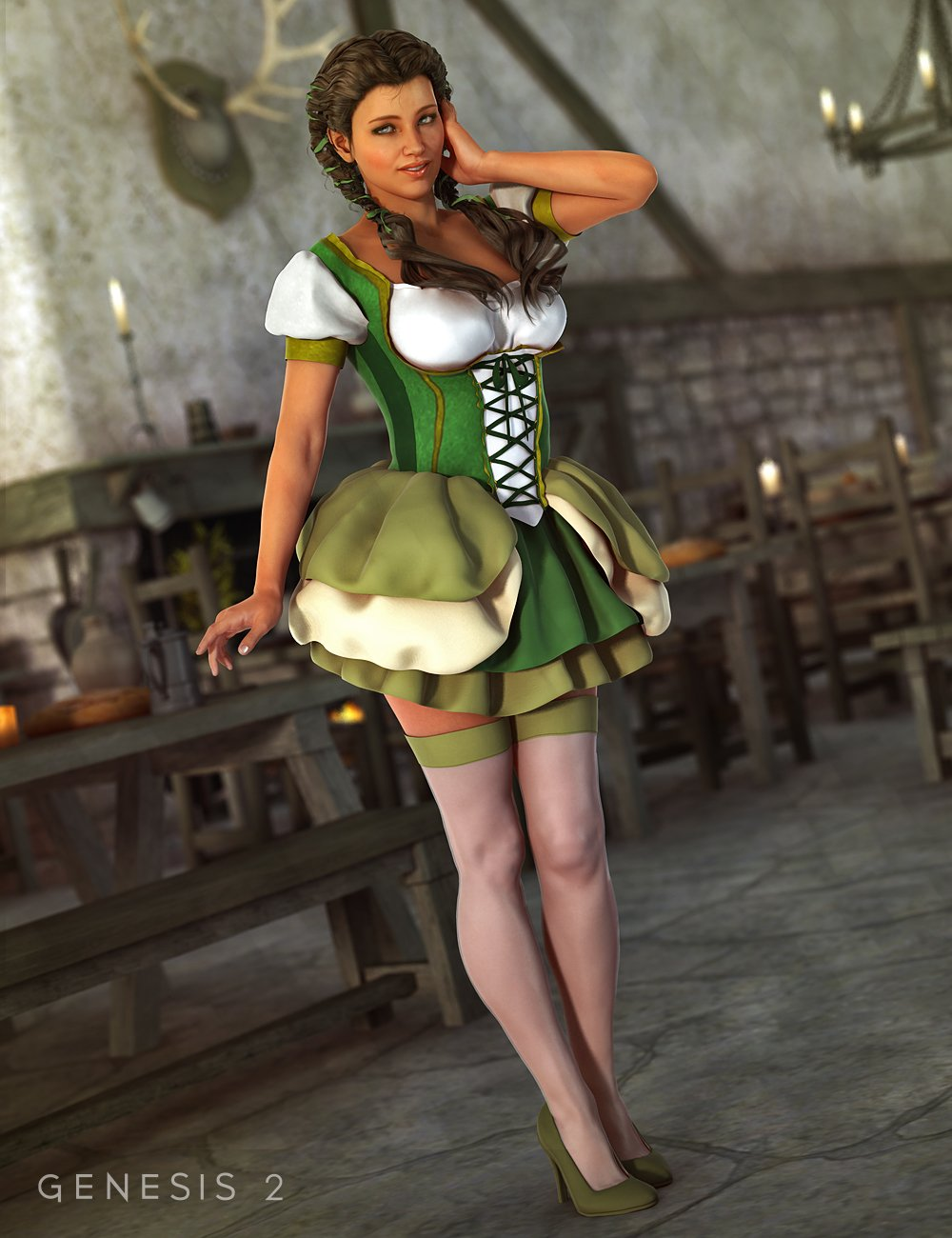 Bar Maid for Genesis 2 Female(s) by: Barbara BrundonEmilyPaige, 3D Models by Daz 3D